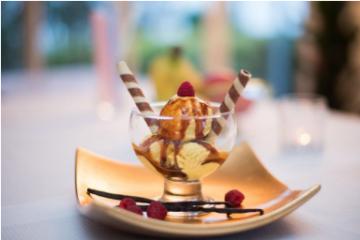 Ein Eis-Dessert mit dem Bioaktivstoffkonzentrat Life Security